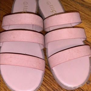 Pink suade never worn sandals